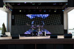 Drum set and lights Royalty Free Stock Image