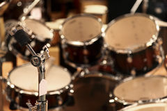 Drum set and microphone Stock Photos