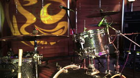 Drum set, microphones and cymbals no people. HD shot with slider stock video