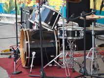 Drum Set and Microphones on a Stage Royalty Free Stock Photo