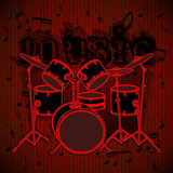 Drum set on musical background Royalty Free Stock Images