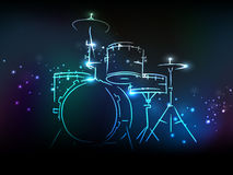 Drum set with neon effect for Music concept. Stock Photos