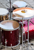 Drum set on the open air concert Stock Photography