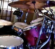 Drum Set. Percussion drum set with cymbals, toms, and snare drums used to keep music time Royalty Free Stock Photos