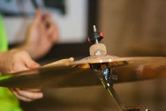 Drum Set with plates and sticks during the concert. Close royalty free stock images