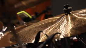 Drum set during rehearsal stock footage
