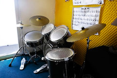 Drum set in room. Drum set in child's music room Royalty Free Stock Image