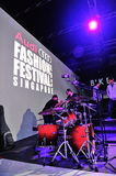 Drum set and screen at Audi Fashion Festival 2012 Royalty Free Stock Photos