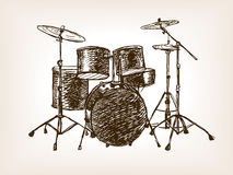 Drum set sketch style vector illustration Royalty Free Stock Photo