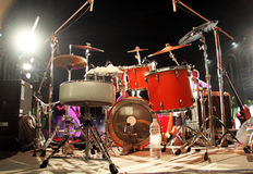 Drum Set on a Stage. Concert stage set up with a drum set Stock Images