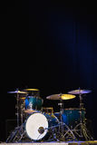 Drum Set On A Stage At Dark Background. Musical Drums Kit On Stage Stock Photos