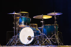 Drum Set On A Stage At Dark Background. Musical Drums Kit On Stage royalty free stock images