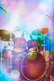 Drum set on stage Royalty Free Stock Images