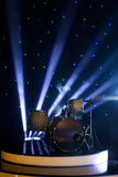 Drum set on stage. Modern drum set on stage  in the spotlight color prepared for playing Royalty Free Stock Images