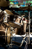 Drum set on stage. Drum set on the stage in night stock photography
