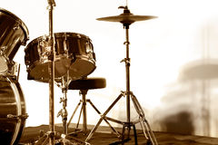 Drum set on stage Stock Images