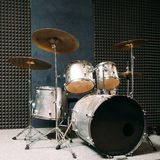 Drum set on stage prepared for playing. Stock Images