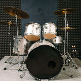 Drum set on stage prepared for playing. Royalty Free Stock Photography