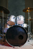Drum set on stage prepared for playing. Royalty Free Stock Photos