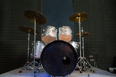 Drum set on stage prepared for playing. Stock Photography