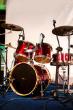 Drum set on stage Stock Photography