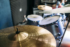 Drum set on stage. Top view Stock Photo