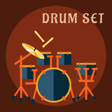 Drum set with sticks in flat style Stock Photo