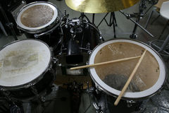 Drum set in training room   Stock Photography