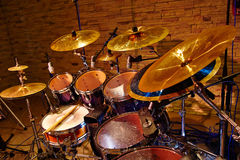 Drum set with two drumsticks Stock Photo