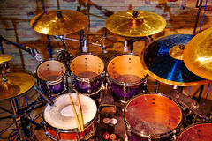 Drum set with two drumsticks Stock Photos