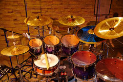 Drum set with two wooden Stock Photo