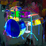 Drum Set. Various colored drums and symbols Royalty Free Stock Photos