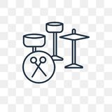 Drum set vector icon isolated on transparent background, linear stock illustration
