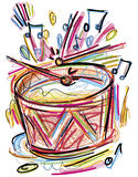 Drum Sketch. Digital Drawing of a sketchy Drum with Drumsticks vector illustration