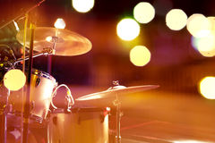 Drum on stage. Live music background.Drum on stage and concert lights stock photos