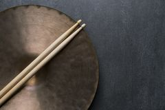 Drum stick and crash cymbal Stock Photography