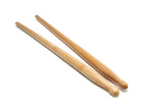 Drum sticks. Pair made of wood, isolated Royalty Free Stock Photos