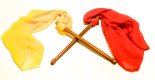 Drum sticks. Two different colors of drums sticks together intersect Stock Photo