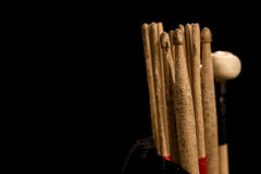 Drum sticks for drums, black background Royalty Free Stock Photo