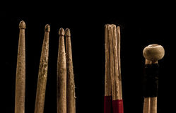 Drum sticks for drums, black background Royalty Free Stock Image