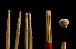 Drum sticks for drums, black background Stock Photography