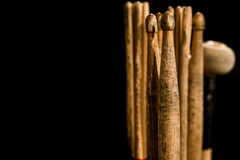 Drum sticks for drums, black background. Drum sticks for drums, musical instrument on black background stock images