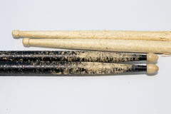 Drum sticks ever used. On white background royalty free stock images
