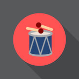 Drum and sticks flat icon. Round colorful button, circular vector sign, logo illustration. Stock Photo