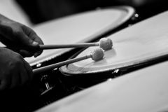 Drum sticks hitting the timpani Royalty Free Stock Photography