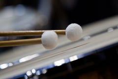 Drum sticks hitting the timpani Royalty Free Stock Photo