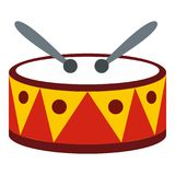 Drum with sticks icon, flat style. Drum with sticks icon in flat style isolated on white background. Musical instrument symbol illustration vector illustration