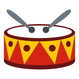 Drum with sticks icon, flat style. Drum with sticks icon in flat style isolated on white background. Musical instrument symbol vector illustration Stock Image