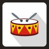 Drum with sticks icon, flat style. Drum with sticks icon in flat style with long shadow. Musical instrument symbol vector illustration Stock Photo