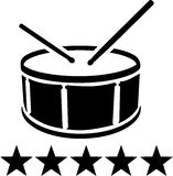 Drum with sticks and stars. Drum with sticks and five stars Royalty Free Stock Photography